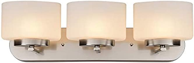 Design House 587964 Addison Modern Dimmable Vanity Light Indoor Up/Down Wall Mount Oval Frosted Glass for Bathroom Bedroom Dressing Table (Bulbs not Included), 3, Satin Nickel