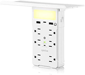 EPICKA 6-Outlet Surge Protector Wall Shelf w/ USB-C and 2 x USB-A