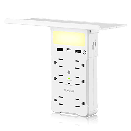 Socket Wall Shelf - EPICKA 9 Ports Surge Protector Wall Outlet with Adjustable LED Night Light, 6 Electrical Outlet Extenders, 3.4A Dual USB Charging and USB Type-C with Removable Built-In Shelf