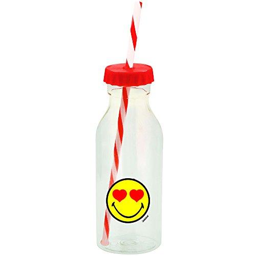 Zak Designs Smiley Emoticon Botella con Pajita Pájaros 55cl–Rojo