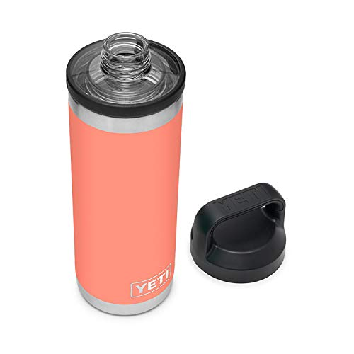 YETI Rambler 18 oz Bottle, Vacuum Insulated, Stainless Steel with Chug Cap, Coral