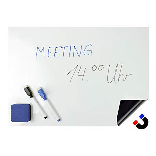 Pulox Magnettafel Set magnetisches Whiteboard A3 mit 2 Stiften und Schwamm