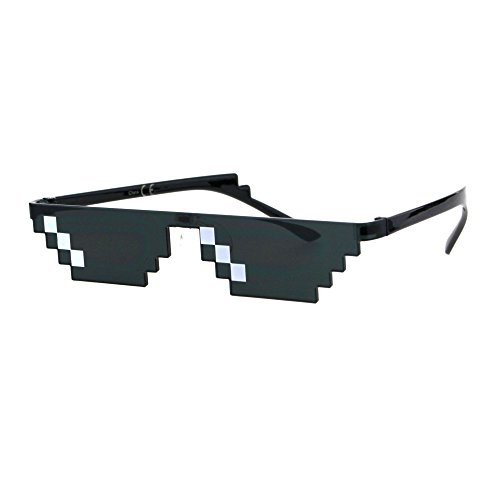 Flat Top Narrow Cat Eye Pixel Funky Party Shade Rimless Shield Sunglasses Black (3 Squares)