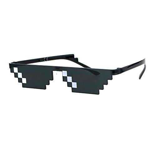 Flat Top Narrow Cat Eye Pixel Funky Party Shade Rimless Shield Sunglasses Black (3 Squares)