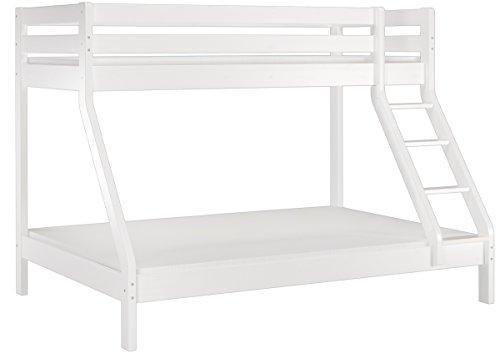 Erst-Holz® weißes Doppel-Etagenbett 140x200 und 90x200 Kiefer-Stockbett Matratze Rollrost 60.19-09-14WM