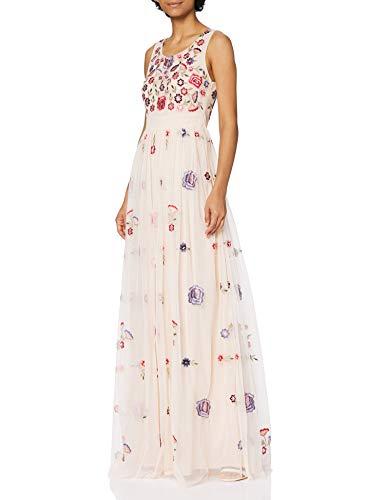 Frock and Frill Damen Embellished Maxi Dress Cocktailkleid, Pfingstrose, Pink, 38