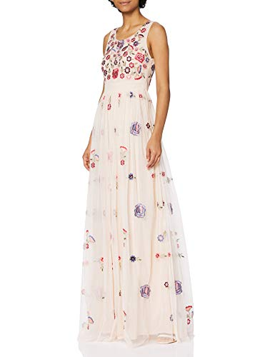 Frock and Frill Embellished Maxi Dress Vestido de cctel, Rosa Peonía, 36 para Mujer
