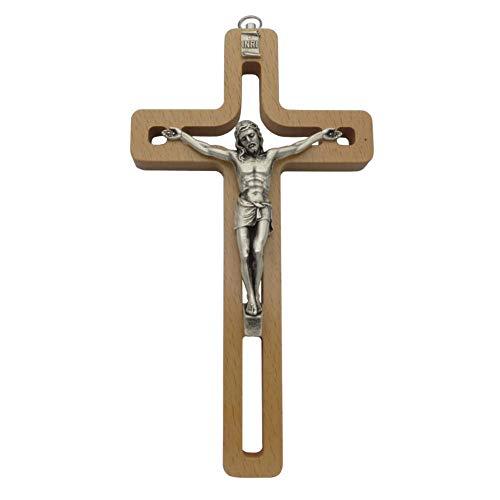Crucifijo de pared de madera natural con diseño moderno calado Cristo cuerpo de...