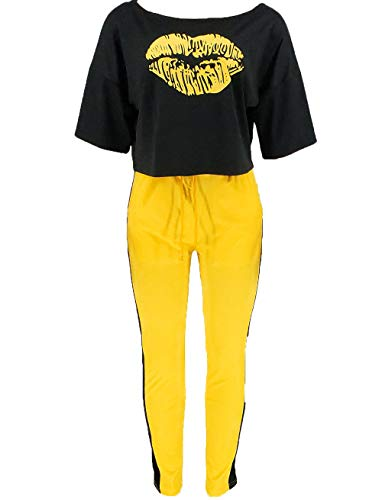 2-teiliges Trainingsanzug für Damen, Sommerkleidung, kurzärmeliges T-Shirt + lange Hose, Freizeit-Trainingsanzug-Set Gr. Large, gelb