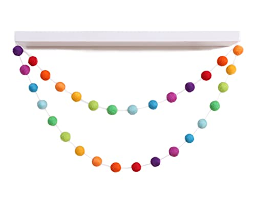 Rainbow Felt Ball Garland - Girl or Boy Baby Shower Garland , Rainbow Pom Pom Garland , Room Decoration Banners , Colorful Decoration Places , Photo Decoration Props