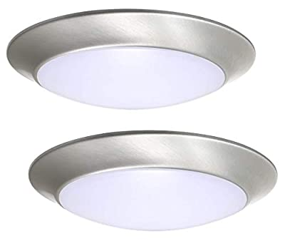 Gruenlich LED Flush Mount Ceiling Lighting Fixture, 11 Inch Dimmable 22.5W 1550 Lumen, Aluminum Housing Plus PC Cover, ETL and Damp Location Rated, 2-Pack (Nickel Finish-5000K)