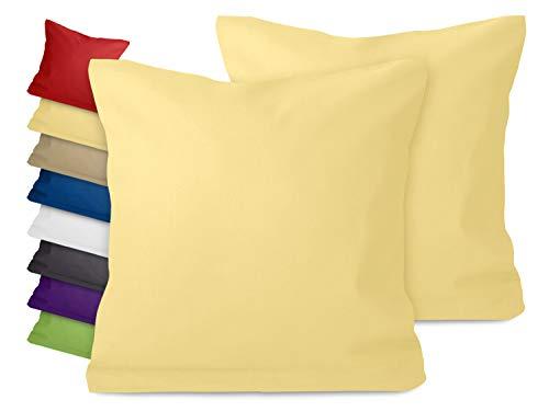 npluseins Doppelpack zum Sparpreis - Baumwoll-Kissenbezüge - Moderne Wohndekoration in schlichtem Design - 8 modernen Uni-Farben und 3 Größen, 40 x 40 cm, gelb