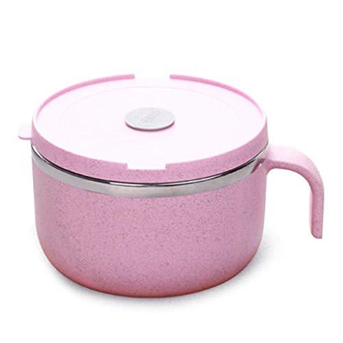 Stainless Steel Instant Noodle Bowl, Instant Noodle Bowl, Student Bowl With Lid, Single Japanese Bowl, Tableware Set, Sealed Lid (Color : Pink, Size : 189.5cm)