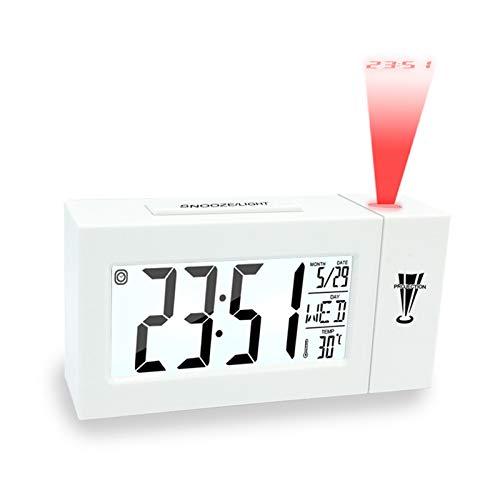 Proyección de Alarma Reloj de Techo Snooze Desk Table Temperatura Termómetro Termómetro USB Digital LCD Cloche Tiempo Proyección (Color : White Projection)