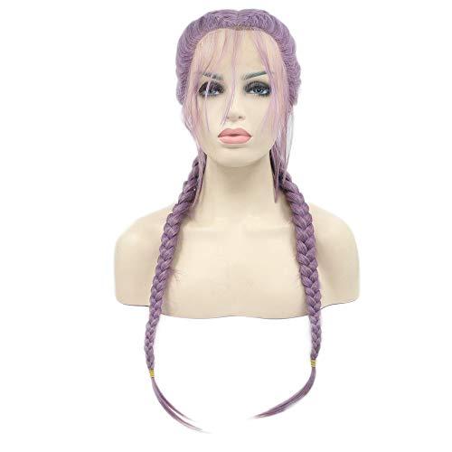 RainaHair Double Tressé Longue Lavande Synthétique Perruque Avant de Lacet Perruques avec Cheveux de Bébé Lilas Violet 2x Twist Tresses Perruques pour les Femmes Partie 24 Pouces