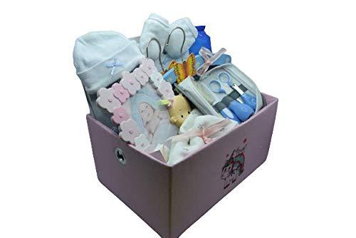 Cesta - Canastilla bebe recién nacido niño - con neceser Gamberritos, toallitas DODOT, perchas de madera, muselinas, gorro y manoplas y portafotos.