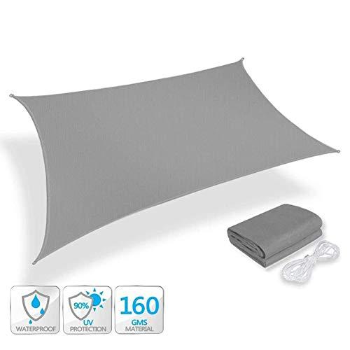 ZXD Tenda A Vela Rettangolare Grigio Protezione Raggi 95% UV Impermeabile Parasole Esterno, Resistente E Anti-Strappo, Tessuto in Polietilene, 42 Taglie (Color : Gray, Size : 2.5X3.5M)