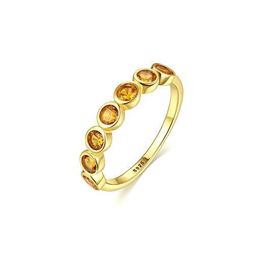 IWINO Real Sterling 925 zilveren ringen ronde Citrien vingerring voor vrouwen Fien sieraden Edelsteen Topaz trouwring