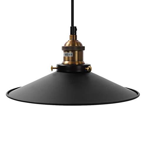 Cikonielf Pantalla de luz de Techo cónica Pantalla de lámpara Colgante de Metal Retro con Base de Bombilla E27 para Dormitorio Comedor Cocina Pasillo 40W Negro