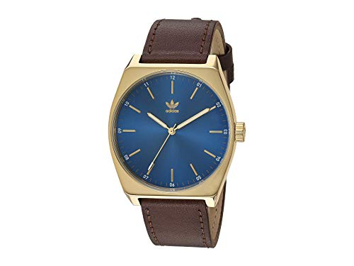 adidas Watches Process_L1. Genuine Leather Strap, 20mm Width (Gold/Blue Sunray/Dark Brown. 38 mm).
