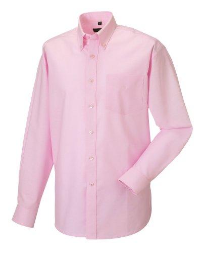 Z932 Langärmeliges Oxford-Hemd Herren Hemd Oberhemd 5XL / 51/52,Classic Pink