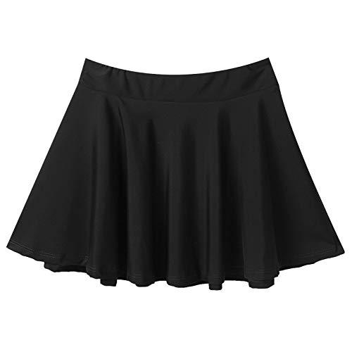 Aislor Falda para Niñas Falda de Patinaje Danza Plisada Elástica A-Line Falda Casual Infantil Falda Escolar Animadora Ropa de Patinador Bailarina Chica Baile Jazz 3-12 Años Negro 11-12 años