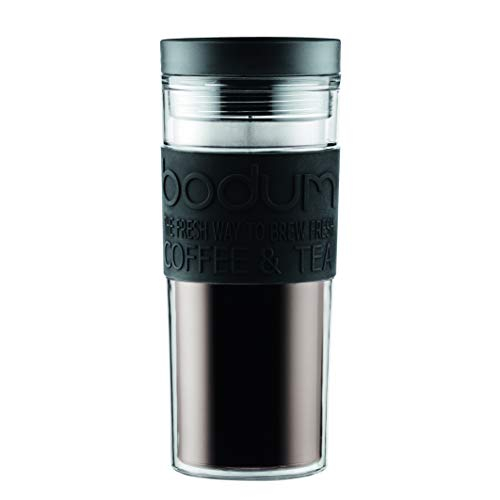Bodum 11685-01S Travel Mug, Doppelwandig, Kunststoff, 0.45 l, Schwarz