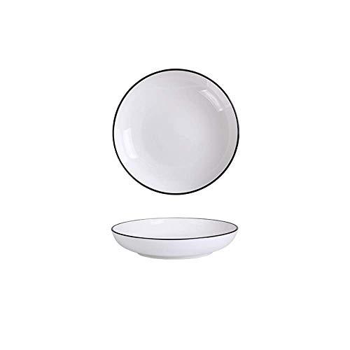 XUSHEN-HU cerámica Europa nórdica hogar vajilla de cerámica Simple Negro Negro Placa de los Cubiertos Blanca J 7 Pulgadas Clásico