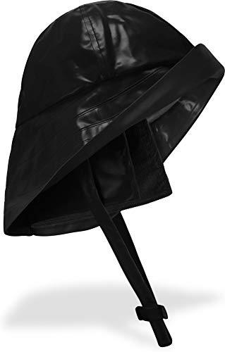 normani Regenhut Südwester mit Kinnband, breiter Krempe und Innenfutter Farbe Schwarz Größe L
