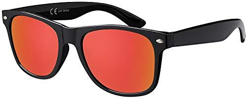 La Optica B.L.M. Herren Sonnenbrille UV400 CAT 3 Damen Unisex Retro Vintage - Glänzend Schwarz (Gläser: Rot Verspiegelt)