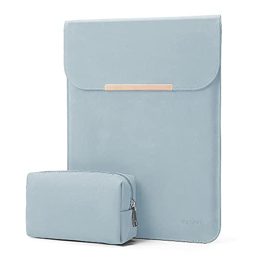 KALIDI 13.3 inch Laptop Sleeve Case Faux Suede Leather for MacBook Air/13 inch MacBook Pro Retina 2017 2016,MacBook 13-13.5 inches + Accessories Pouch,Sky Blue
