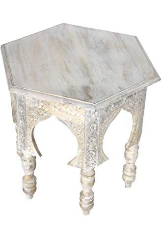 Marokkanischer Vintage Beistelltisch Hocker aus Holz Jannat ø 45cm Eckig | Orientalischer runder...