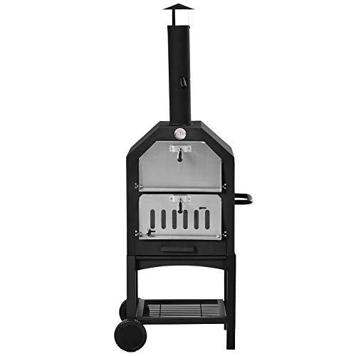Outsunny Forno per Pizza Barbecue a Carbonella, BBQ da Esterni/Giardino in Acciaio Inox con Termometro, 50x36x160cm