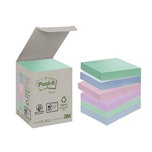 Post-it Blocco per appunti riciclato da 653-1 GB (38 mm x 51 mm) Tower Pack - arcobaleno pastello (scatola da 6, 100 fogli per blocco - i colori possono variare)