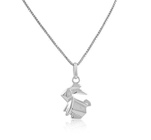 Origami Hase Halskette Sterling-Silber 925