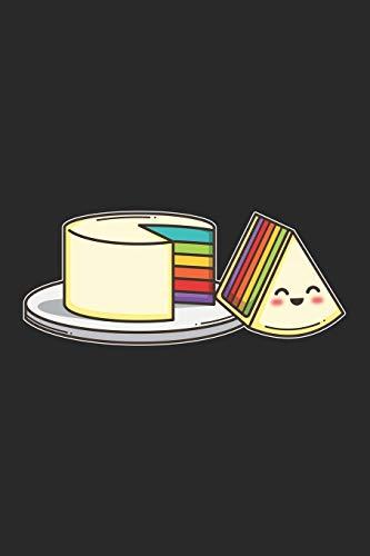 Sketchbook: 109 Seiten A5 - Gerahmte Seiten - Skizzenbuch - Zeichenbuch - Tolles Geschenk für Kinder und Freunde - Süße Lustige Kawaii Chibi Regenbogen Kuchen Torte - Bunt und Fröhlich