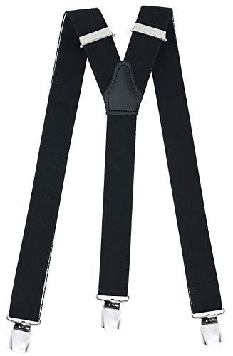 Hochwertige Hosenträger  in Trendigen Uni Schwarz mit Extra Starken Clips,Schwarz,One Size