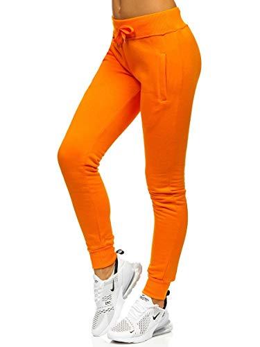 BOLF Damen Jogginghose Sporthose Freizeithose Trainingshose Sweathose Yogahose Sweatpants Baumwolle Hose Fitness Workout Basic Elastic J.Style CK-01 Orange XL [F6F]