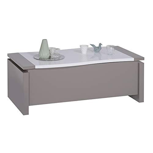 Tousmesmeubles Table Basse relevable Taupe/Blanc Brillant - CHANTALE - L 120 x l 63/97 x H 45/69 - Neuf