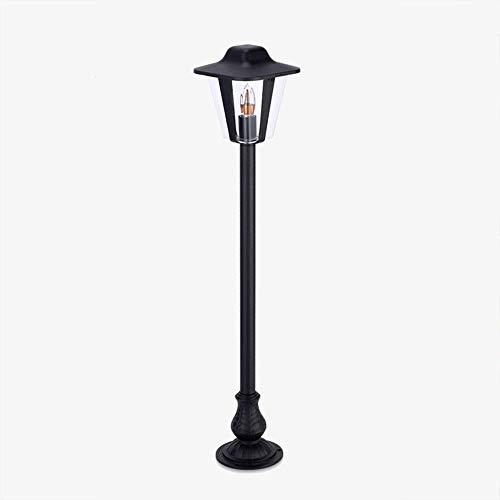 FGDSA Retro industrial E27 outdoor waterproof path light, garden lighting made of cast aluminum, black with clear acrylic glass shade, bollard light IP54, vintage floor lamp, courtyard lamp, post