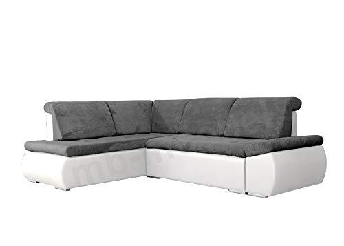 mb-moebel Ecksofa Sofa Eckcouch Couch mit Schlaffunktion und Bettkasten Ottomane L-Form Schlafsofa Bettsofa Polstergarnitur - Bonita (Ecksofa Links, Dunkelgrau + Weiß)