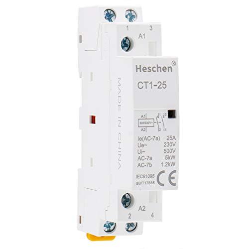 Heschen Contactor de CA del hogar CT1-25 2 polos dos normalmente abiertos 220V/230V Voltaje de la bobina 35 mm Montaje en riel DIN