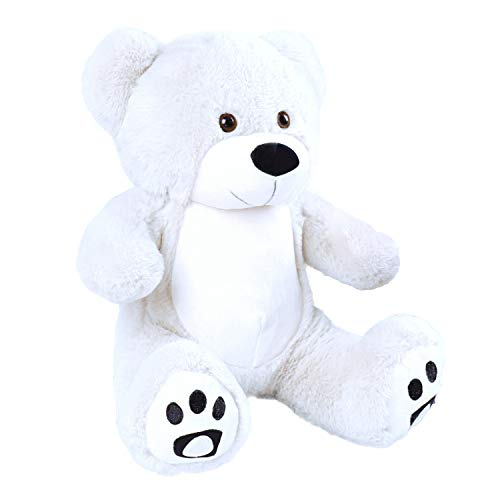VERCART Orsacchiotto di Peluche Orso Bambola Morbida Regalo di Compleanno Fidanzata Natale Adulto Bambina Bianco 25cm Seduto