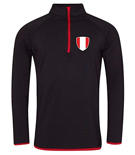 Nation Peru - Sudadera deportiva transpirable con protección UV JC-GO SC-R Negro L