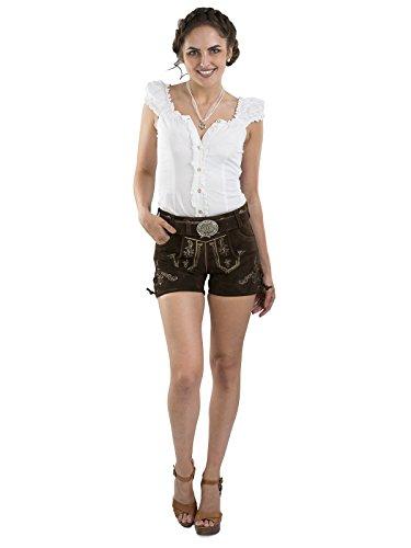 Damen Almglück Lederhose kurz mit Trachtengürtel - Hotpants Trachtenlederhose Gürtel (42)