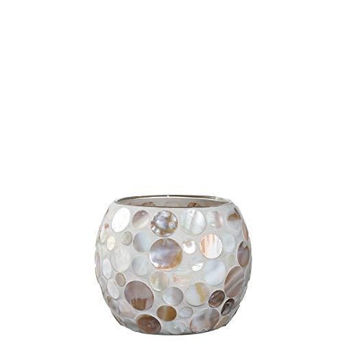 Deko LED Glas Kugel Mosaik beige//perlmutt beleuchtet 20 cm