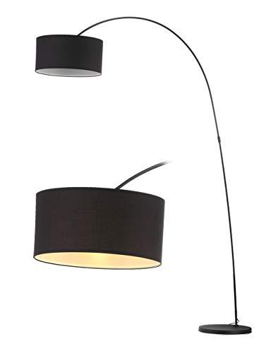 Modernluci arc Stehlampe Schwarz, Modern Bogenlampe für das Wohnzimmer, Schlafzimmer lampe, zeitnah arc Stehleuchte Skandinavischer Stil mit Textilschirm,ø 40cm, Höhe: 228cm E27-Fassung MEHRWEG