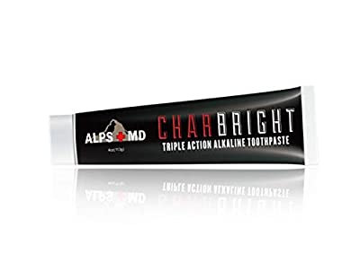 CHARBRIGHT Alkaline Charcoal Toothpaste – Organic Coconut Teeth Whitening Paste For a Brighter Smile, Healthy Gums & Fresh Breath –Natural Anti-Plaque Polishing Tooth Paste, Non-Fluoride & Non-Paraben