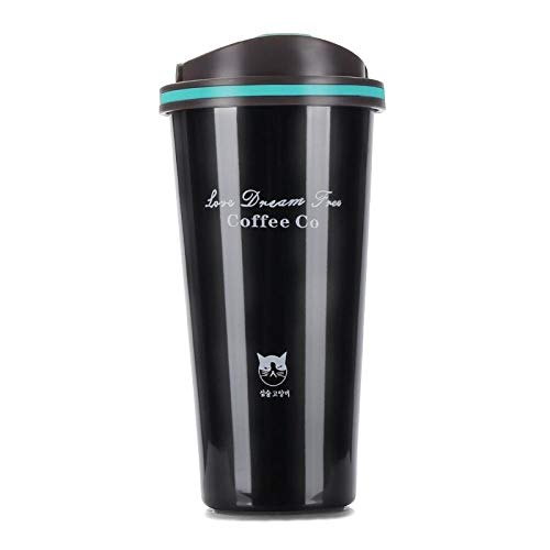 Edelstahl Trinkflasche,500 Ml Wiederverwendbare Wärmeisolierten Vakuum Tragbaren Hydro Kolben Kaffee Schwarz Kaffee Tasse Tasse Katze Bpa-Freie Flasche Auslaufsicher Für Die Schule Kinder Junge Erw