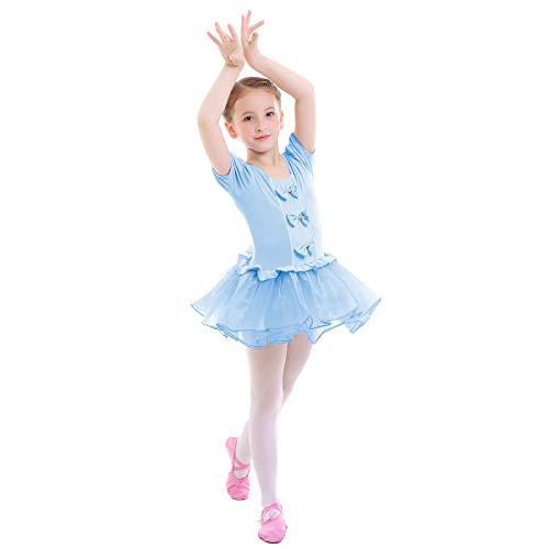 OBEEII Vestido Maillot de Ballet Danza Leotardo Traje de Ballet Princesa Tutu Gimnasia Danza Infantil 002 Azul 6-7 Años